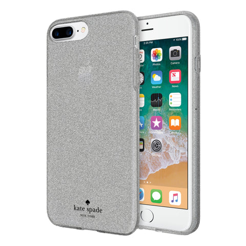 Shop KATE SPADE NEW YORK FLEXIBLE GLITTER CASE FOR iPHONE 8 PLUS/7 PLUS - SILVER Cases & Covers from Kate Spade New York