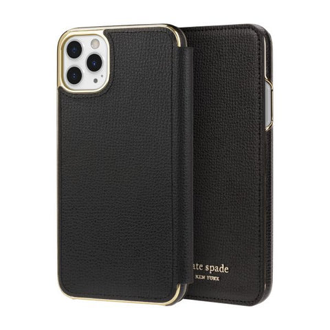 "Shop KATE SPADE NEW YORK Inlay Folio Wallet Case For iPhone 11 Pro (5.8"") -Black Cases & Covers from Kate Spade New York"
