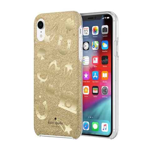 Shop KATE SPADE NEW YORK PROTECTIVE HARDSHELL CASE FOR IPHONE XR - CHARM TOSS GOLD GLITTER/FOIL  from Syntricate Asia