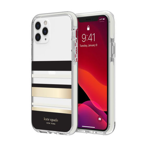 "Shop KATE SPADE NEW YORK Hardshell Case for iPhone 11 Pro Max (6.5"") - Park Stripe Cases & Covers from Kate Spade New York"