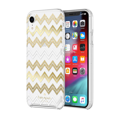 Shop KATE SPADE NEW YORK PROTECTIVE HARDSHELL CASE FOR IPHONE XR - CHEVRON GOLD GLITTER/CLEAR Cases & Covers from Kate Spade New York