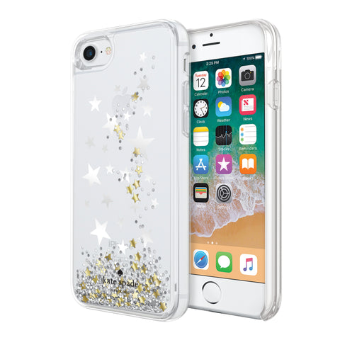 Shop KATE SPADE NEW YORK LIQUID GLITTER CASE FOR IPHONE 8/7 - STARS/GOLD/SILVER Cases & Covers from Kate Spade New York