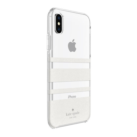 Shop KATE SPADE NEW YORK PROTECTIVE HARDSHELL CASE FOR IPHONE XS/X - CHARLOTTE STRIPE WHITE GLITTER/CLEAR  from Syntricate Asia