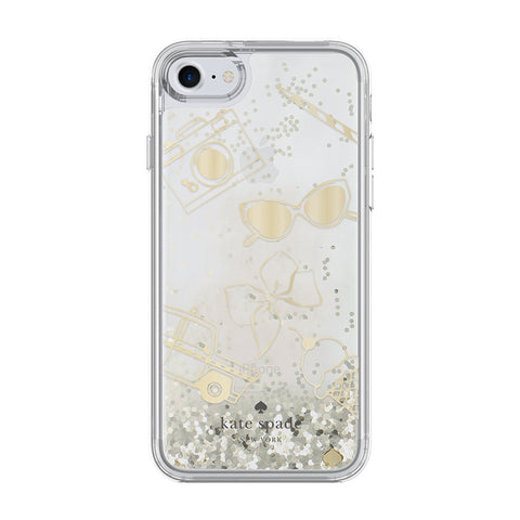 Shop KATE SPADE NEW YORK CLEAR LIQUID GLITTER CASE FOR IPHONE 7/8 - GOLD/FAVORITE THINGS Cases & Covers from Kate Spade New York