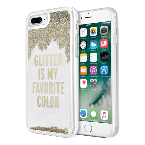 Shop KATE SPADE NEW YORK CLEAR LIQUID GLITTER CASE FOR IPHONE 7 PLUS / 8 PLUS - GOLD/GLITTER IS MY FAVORITE COLOR Headphones & Earphones from Kate Spade New York