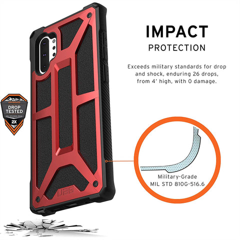 UAG MONARCH HANDCRAFTED LEATHER RUGGED CASE FOR GALAXY NOTE 10 PLUS / NOTE 10 PLUS 5G (6.8-INCH) - CRIMSON