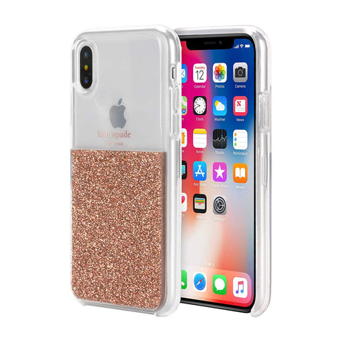 Shop KATE SPADE NEW YORK HALF CLEAR CRYSTAL CASE FOR IPHONE XS/X - ROSE GOLD Cases & Covers from Kate Spade New York