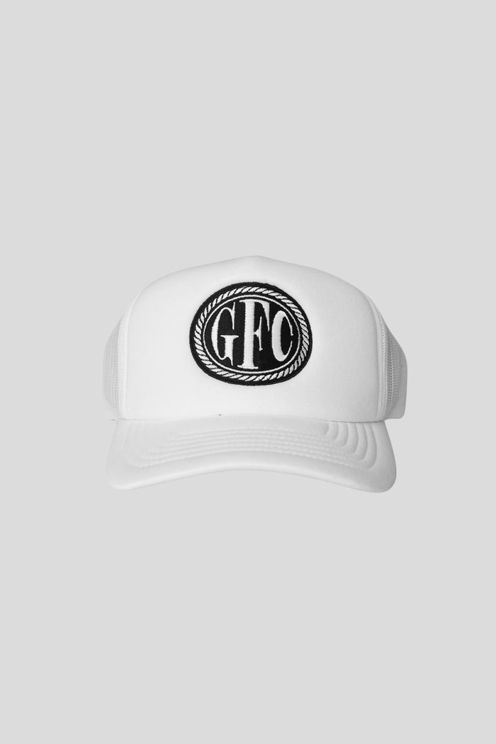 Medallion Trucker Hat - White