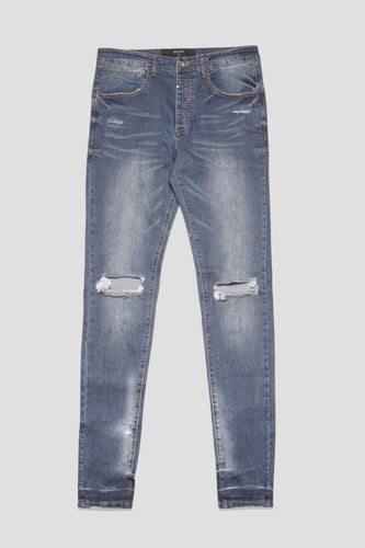 Kollar - Blownout Knee Denim Pant (Med Blue)