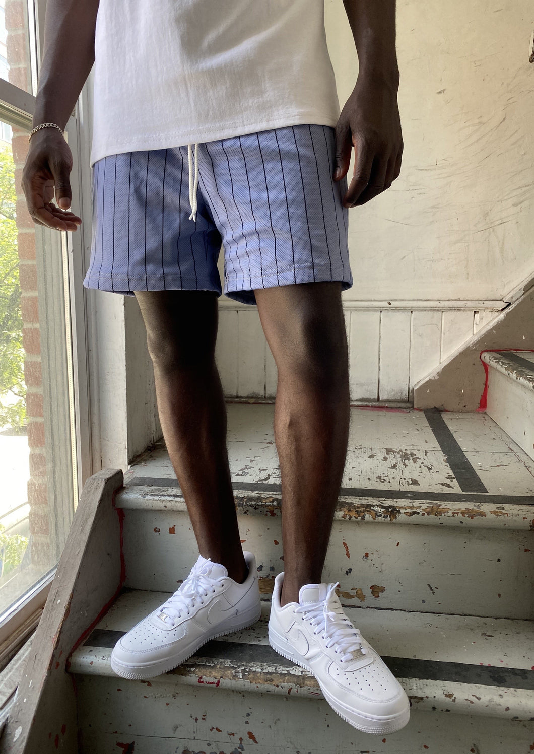 GFC - HEAVYWEIGHT PINSTRIPE SHORTS - SKY BLUE