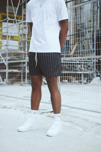 GFC - HEAVYWEIGHT PINSTRIPE SHORTS - BLACK