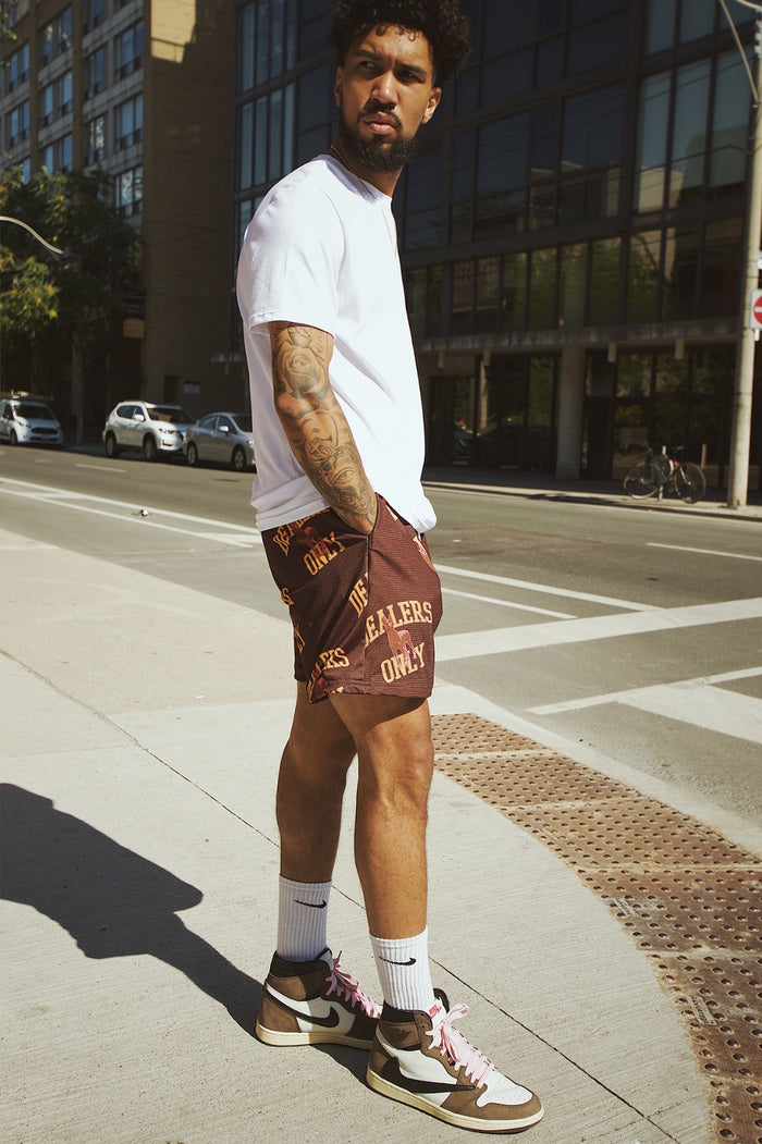 GFC - HEAVYWEIGHT DEALERS ONLY SHORTS - COCOA/YELLOW