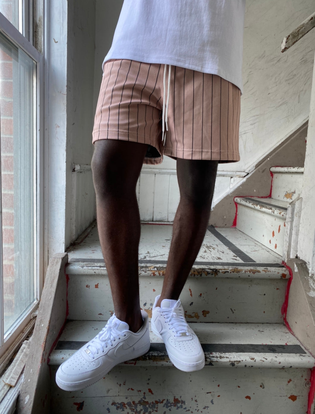 GFC - HEAVYWEIGHT PINSTRIPE SHORTS - PEACH