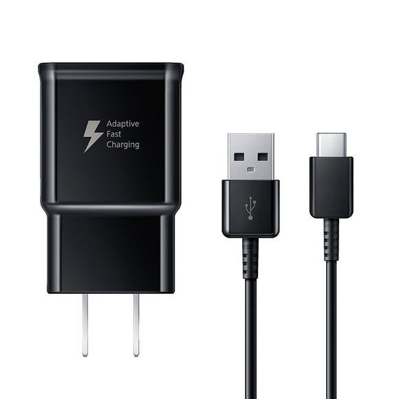 Adaptive Fast Charger Compatible with Samsung Galaxy A8 Plus (2018) [Wall Charger + Type-C USB Cable] Dual voltages for up to 60% Faster Charging! BLACK