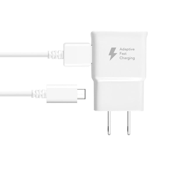 Adaptive Fast Charger Compatible with Samsung Galaxy A8 Plus (2018) [Wall Charger + Type-C USB Cable] Dual voltages for up to 60% Faster Charging! WHITE