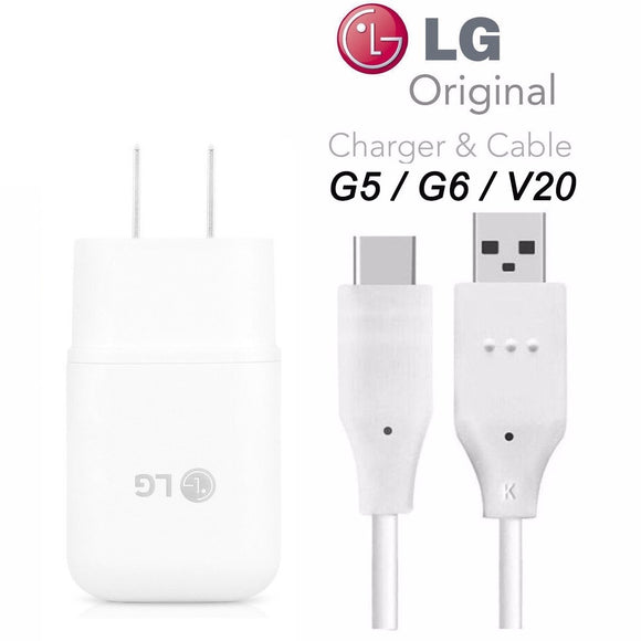 Genuine LG Quick Wall Charger + Type-C USB-C Cable for LG G5 / G6 / V20 / V30 / G7 - 18W QuickCharge 3.0 Certified