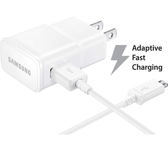 Samsung Galaxy J3 (2016) Adaptive Fast Charger Micro USB 2.0 Cable Kit! [1 Wall Charger + 5 FT Micro USB Cable] AFC uses dual voltages for up to 50% faster charging! - Bulk Packaging