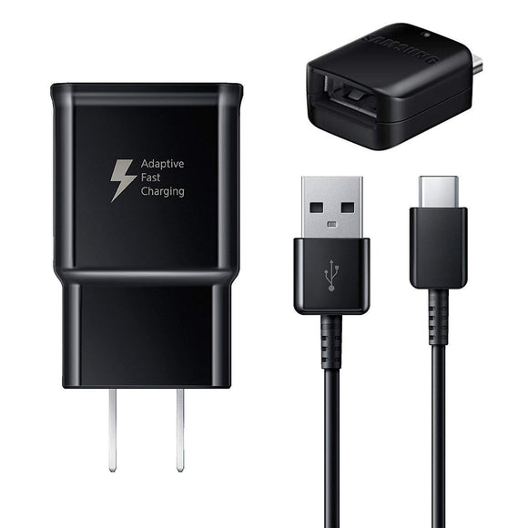 Adaptive Fast Charger [Wall Charger + Type-C USB Cable + OTG Adapter USB-A to USB-C Connector] Compatible with Samsung Galaxy S10 S10+ S9 S9+ Note 9 S8 Active S8+ Note 8 Tab S3 Plus Cell Phones
