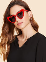 Womens Heart Shaped Frame Sunglasses