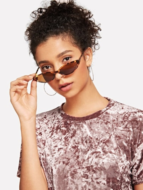 Womens Skinny Leopard Cat Eye Sunglasses