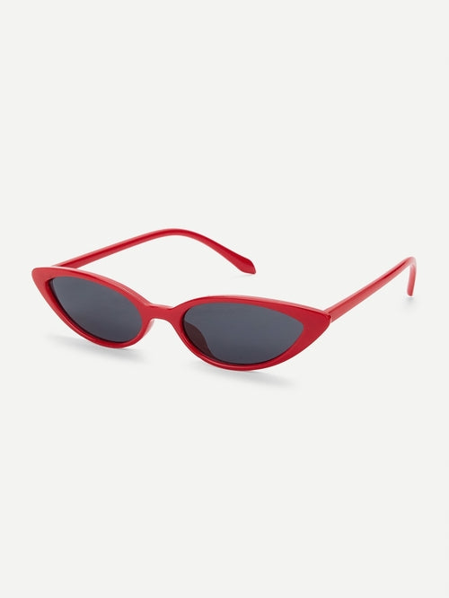 Womens Skinny Cat Eye Sunglasses