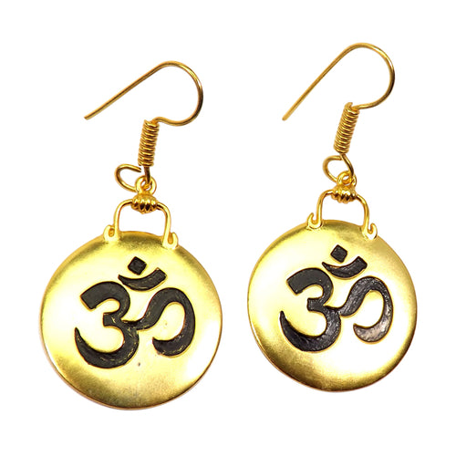 Gold-overlay Aum Earrings