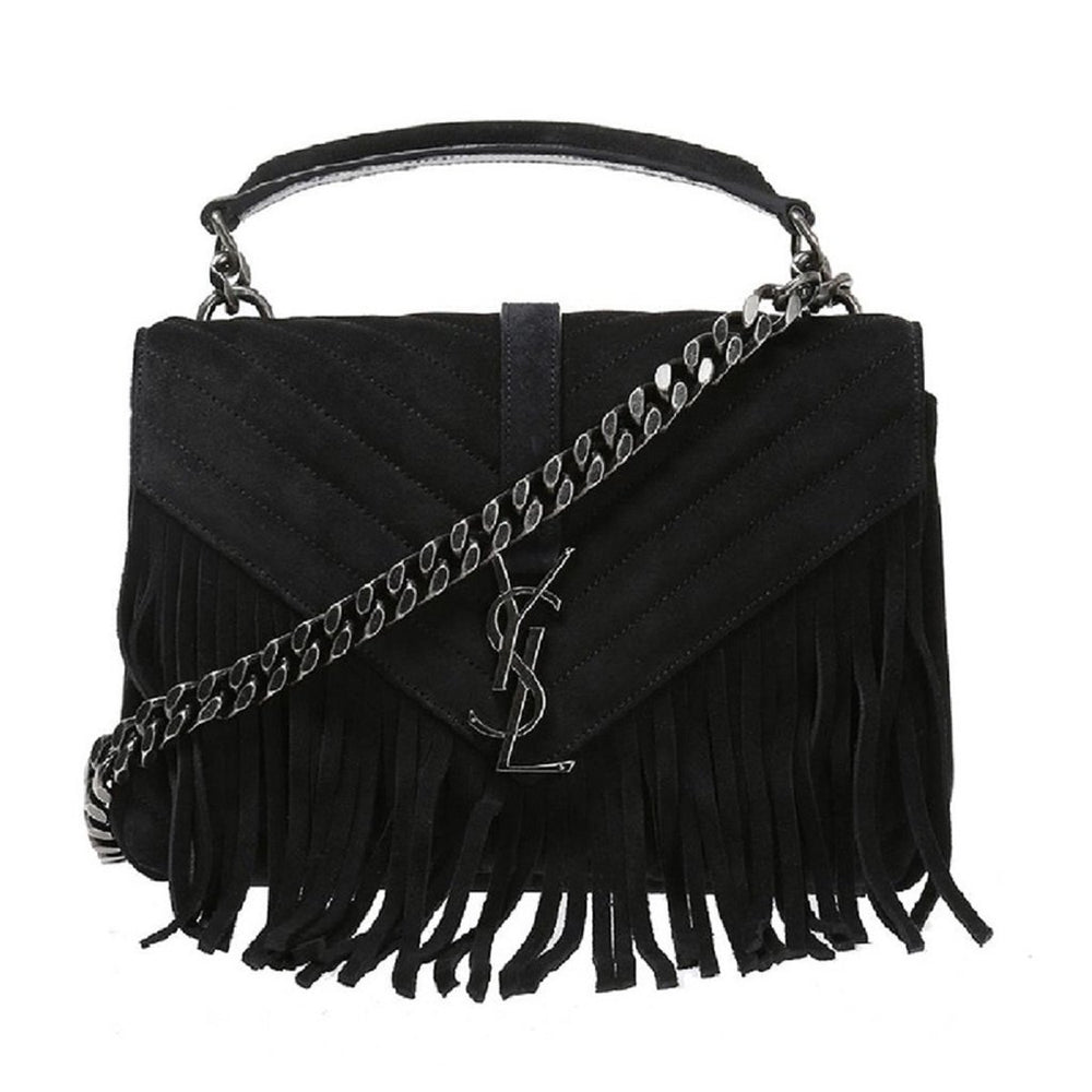 Saint Laurent Women's College Monogramme Black Suede Handbag