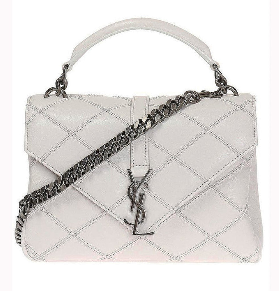 Saint Laurent YSL White College Monogram Handbag
