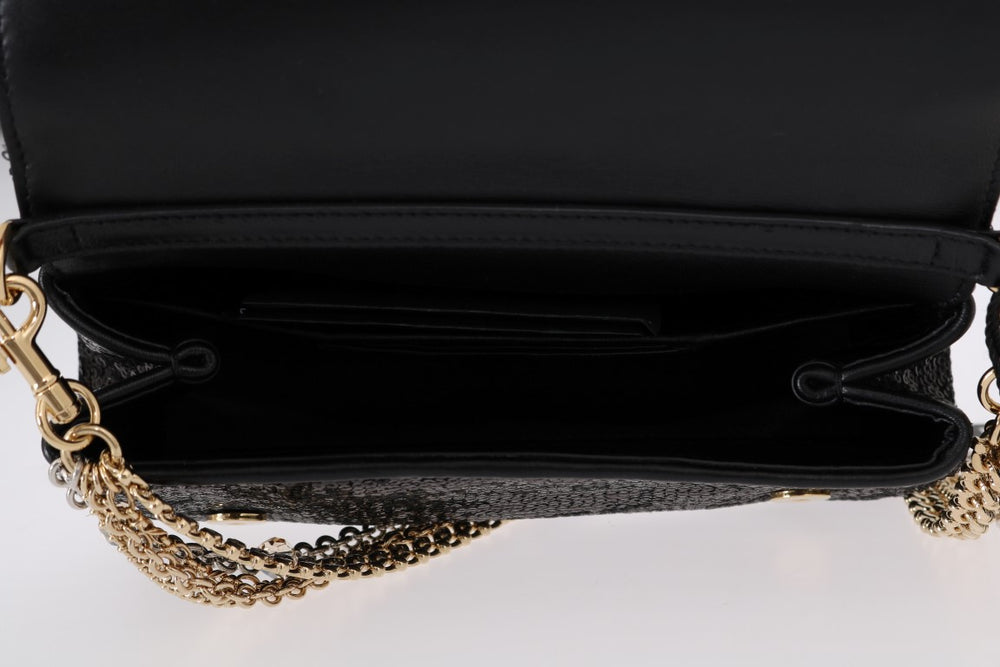 Dolce Black ANNA Sequined Crystal Clutch Bag