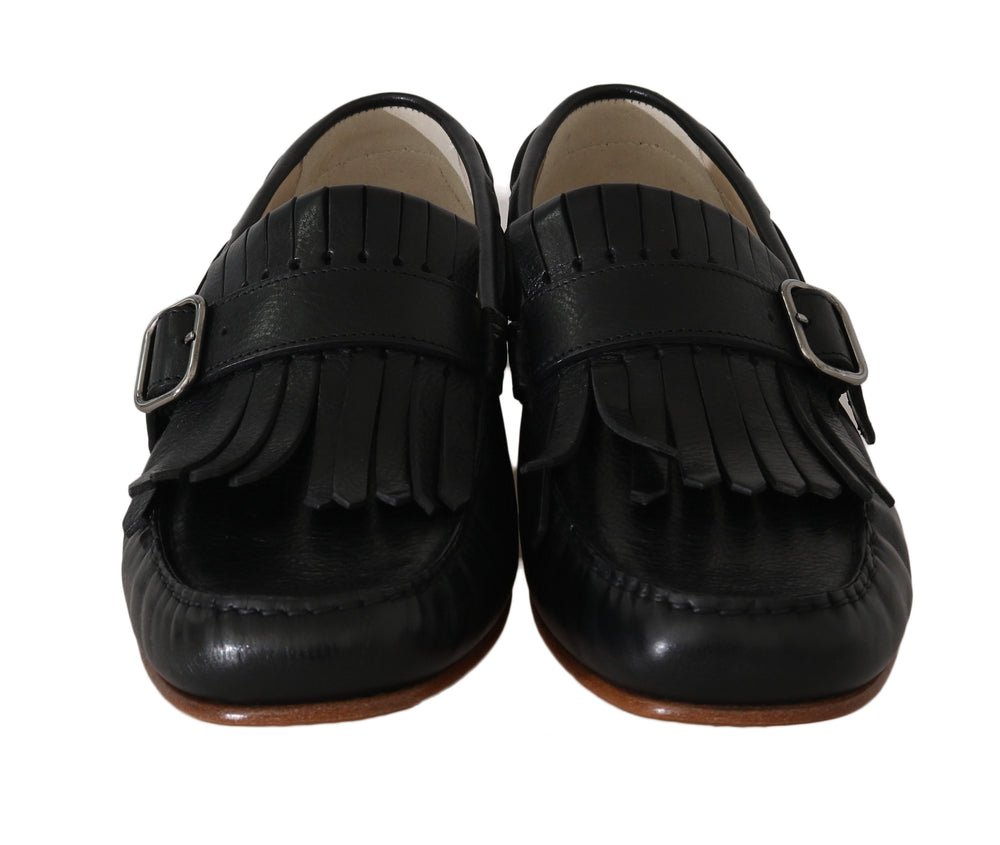Black Leather Loafers Moccasin Slides
