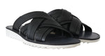 Black Leather Slides Flats Sandals