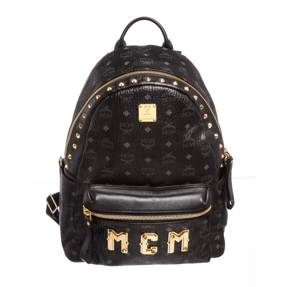 MCM Black Visetos Coated Canvas Studded Medium Backpack