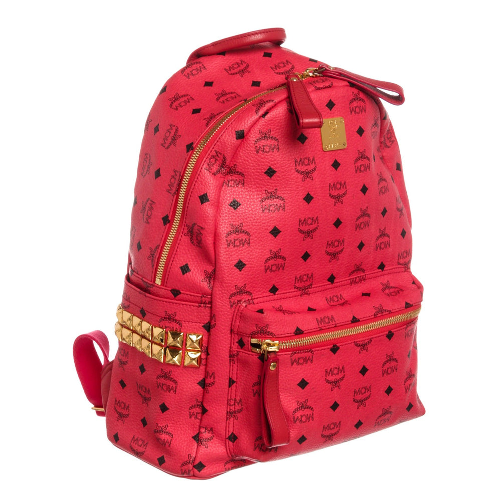 MCM Red Visetos Coated Canvas Leather Trim Studded Stark Medium Backpack