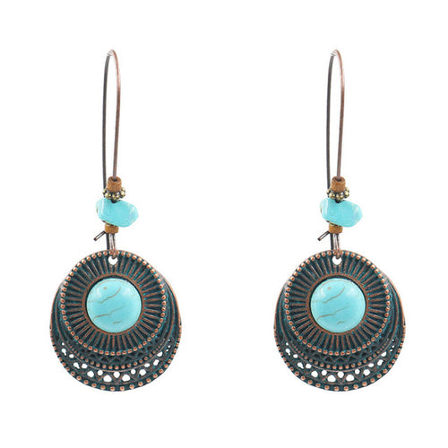 Blue Crystal Retro Vintage Earrings