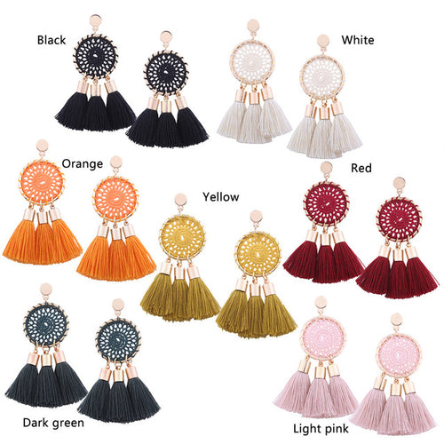 Shining Long Tassel Statement Earring