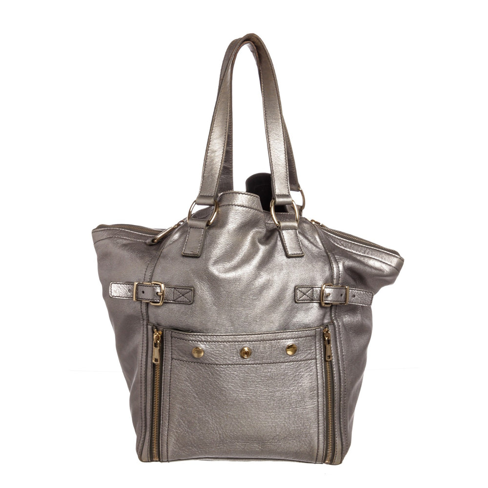 Yves Saint Laurent YSL Silver Leather Downtown Tote Bag