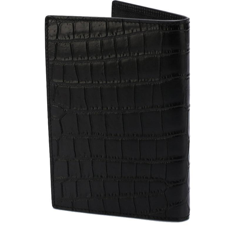 Saint Laurent YSL 441711 Black Croc Embossed Leather Passport Holder Wallet