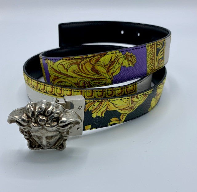 Versace Mens or Womens Multi color Medusa Head Belt