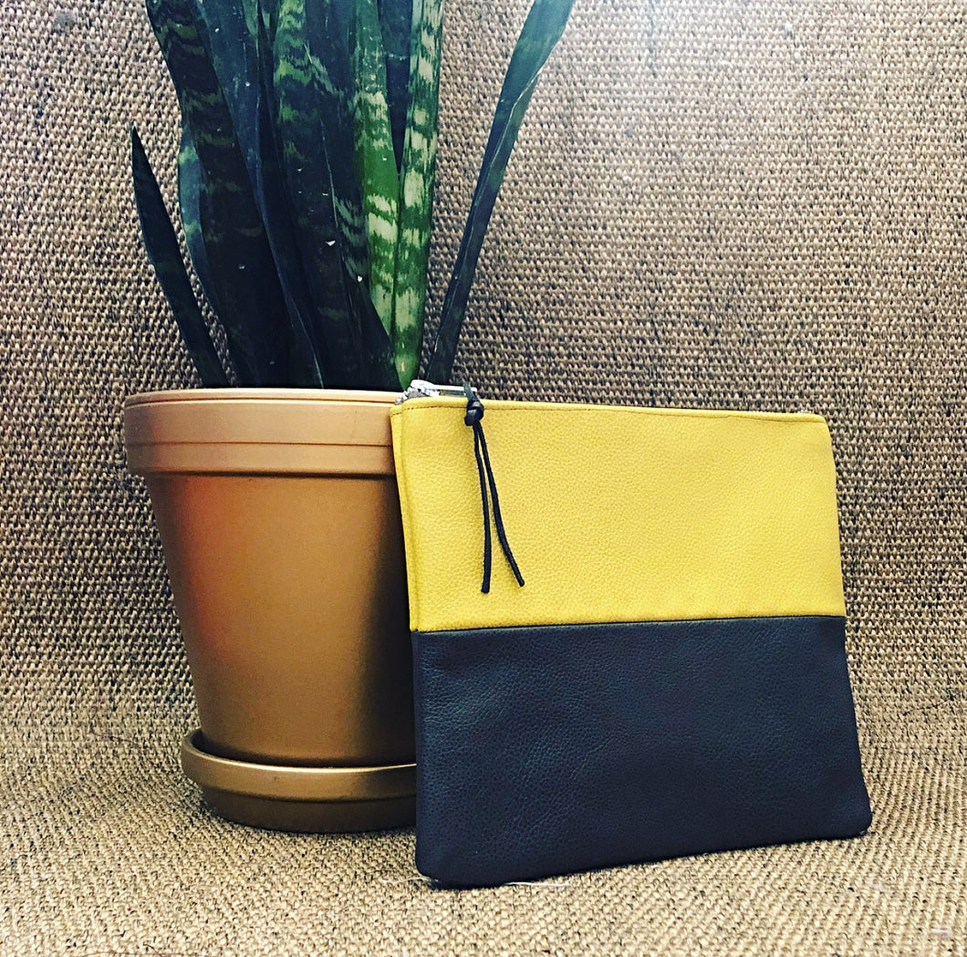 Two Tone Leather Clutch (Mustard and Slate)