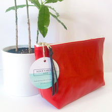 Load image into Gallery viewer, Standing Trapezoid Pouch (Red with Floral Interior)