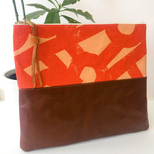 Fabric and Leather Split Clutch (Abstract Orange)