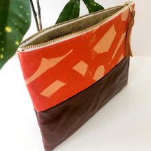 Load image into Gallery viewer, Fabric and Leather Split Clutch (Abstract Orange)