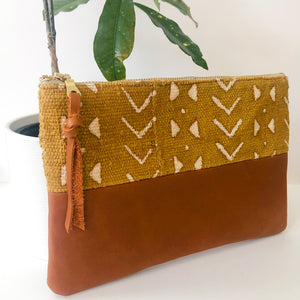 Small Fabric and Leather Split Clutch (Yellow Sheep's Wool)