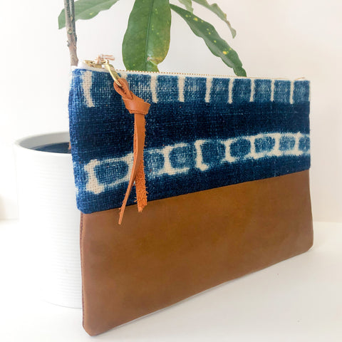Small Fabric and Leather Split Clutch (Indigo Mud Cloth)