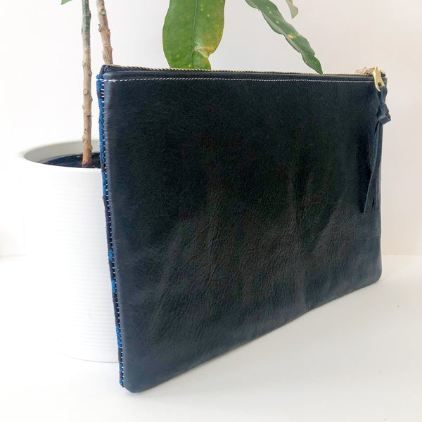 Half-and-Half Leather and Fabric Clutch (Black and Blue)