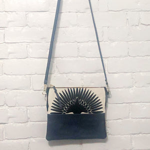 Crossbody Leather Bag (Velvet Cranes, Navy Leather)