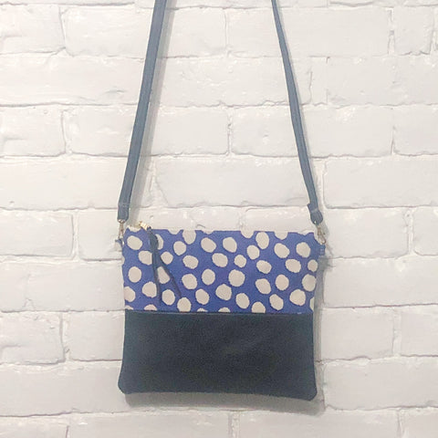 Crossbody Leather Bag (Blue and White Polka Dots, Gray)