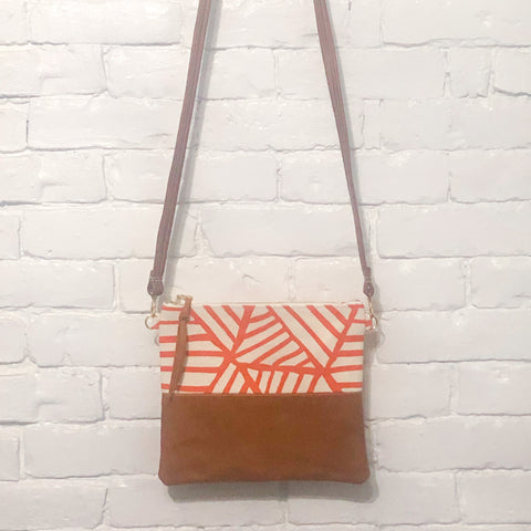 Crossbody Leather Bag (Orange, White, and Brown)
