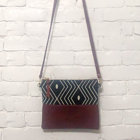 Crossbody Leather Bag (Black and White Diamonds, Red Leather)