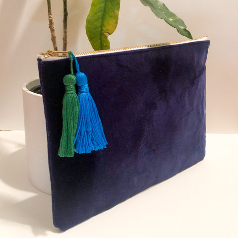 Navy Blue Velvet Tassel Clutch